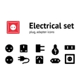 Electric plug adapter socket base icon set vector image