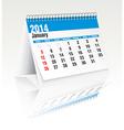 january 2014 desk calendar vector image