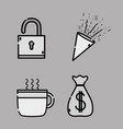 set business icons office strategy vector image