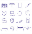 simple blue outline school icons set eps10 vector image