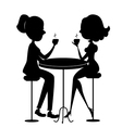Two lovers women drinking coffee black silhouette vector image
