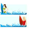 surf girls vector image vector image