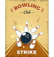 Bowling Club Retro Style Design vector image