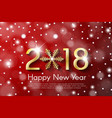 golden new year 2018 concept on red snow blurry vector image