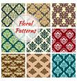 seamless floral damask patterns set vector image