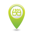 cinema glasses 3d icon green map pointer vector image
