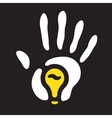 light bulb hand print vector image