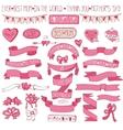 Mothers day pink decor setHand drawing Ribbons vector image vector image