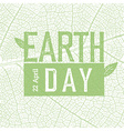 Earth Day Logo on green leaf veins texture 22 vector image vector image