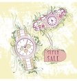 Decorative stylish womens and mens watches vector image