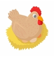 Hen in the nest icon cartoon style vector image