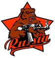 Russia BEAR with KALASHNIKOV vector image