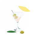 Martini cocktail with olives vector image