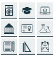 set of 9 education icons includes certificate vector image