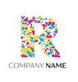letter r logo with blue yellow red particles vector image