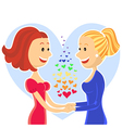 Smiling and happy lesbian couple of women vector image vector image