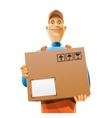 delivery service man with box vector image