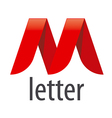 logo red ribbon in the shape of the letter M vector image