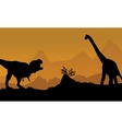 Silhouette of brachiosaurus and T-Rex vector image