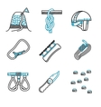 Flat line icons for mountaineering vector image