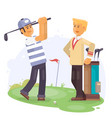 golfing friends holding clubs at golf course vector image
