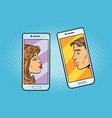 retro boy and girl want to kiss via a smartphone vector image