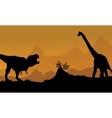 Silhouette of brachiosaurus and T-Rex vector image