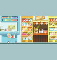 supermarket with full rows of food and cart vector image