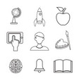 white background with silhouette icons academic vector image