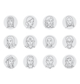 Women avatar set thin line vector image