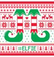 elfie christmas seamless pattern ugly jum vector image vector image