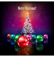 Celebration greeting with Christmas tree and stars vector image
