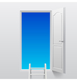 Open white door into sky vector image vector image