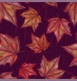 autumnal seamless pattern with maple leaves vector image