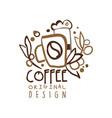 coffee to go hand drawn original logo design with vector image