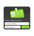 Create a new account form with green ID card vector image