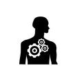 Gearwheel mechanism in silhouette of man vector image