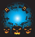 halloween background with pumpkin ghost face vector image