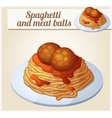 Spaghetti and meat balls Detailed icon vector image