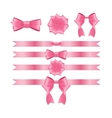 Pink Ribbon and Bow Set for Birthday and Christmas vector image
