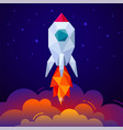 banner with space rocket on blue background vector image vector image