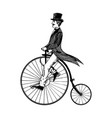 man on retro vintage old bicycle engraving vector image vector image
