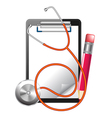 clipboard and stethoscope vector image