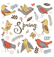 Spring collection with birds flowers and twigs vector image