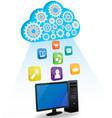 desktop cloud computing vector image