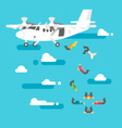 Flat design people skydiving vector image