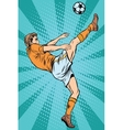 Football soccer player kick the ball vector image