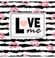 Love me Pink lips kisses prints background vector image