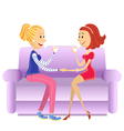 Lovers women sitting in room on couch vector image