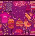 seamless pattern doodling autumn design vector image